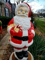 Vintage Santa W/ Candy Cane Blow Mold Plastic Lighted Grand Venture Christmas
