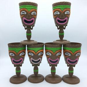 Tiki Goblet Plastic Hawaiian Luau Party Cups Tribal Mask Lot of 6 Cups