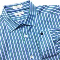 FACONNABLE USA Mens 16.5 38 Blue Green Striped French Cuff Spread Collar Shirt