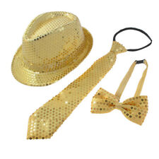 Kostuem Pailletten Dekor Tanzkostuem Fliege Krawatte Hut Set Gelb A2S3 T3I6