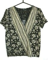 Lucky Brand Womens Woodblock Floral Surplice Neck Top Short Sleeve Blouse M