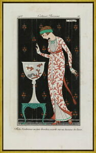 Framed George Barbier Silk housecoat Giclee Canvas Print Paintings Poster