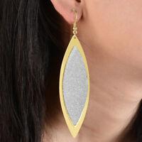 Fashion 1 Pair Women Frosted Willow Leaf Drop Dangle Ear Hook Earrings Jewelry