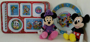 Christmas Mickey and Minnie Mouse Doll  Melamine Compartment Plates Bowl Kids