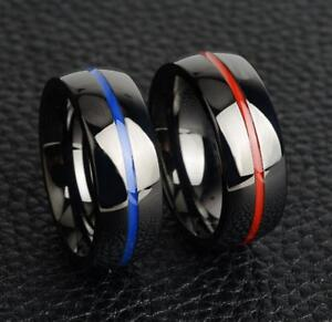 20pcs Mens Firefighter Rings Stainless Steel Thin Blue Line Red Line Rings NEW