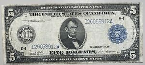 1914 $5 Large Size Federal Reserve Note Minnesota Blue Seal