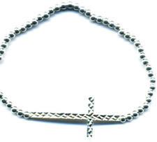 Sterling Silver 548173 Diamond Cut Cross Bead Stretch Bracelet