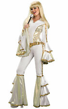 Disco Queen 1960s 1970s White Retro Hippie ABBA Women Costume