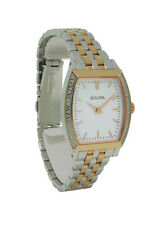 Bulova 98R200 Women's White Tooneau Analog Clear Stones Analog Watch
