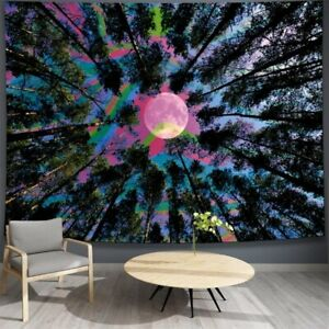 Psychedelic Colorful Forest Moon Tapestry Wall Hanging Tapestries Home Art Decor