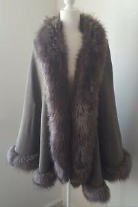 Luxury Faux Fur Trim Wrap Cape Shawl Poncho Sweater Coat Jacket - One Size/Gray