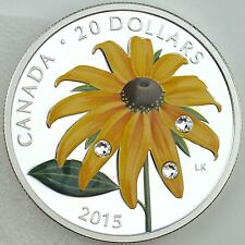 2015 $20 Black-eyed Susan with Swarovski Elements 99.99% Pure Silver Color Proof