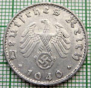 GERMANY THIRD REICH 1940 B 50 REICHSPFENNIG SWASTIKA VIENNA MINT ALUMINIUM