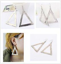 Big Antique Silver Triangle Drop/Dangle Earrings