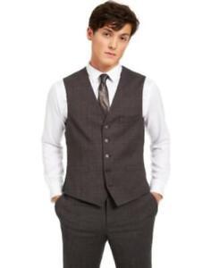 Inc Men's Slim-Fit Crosshatch Suit Vest (Charcoal, XXL)