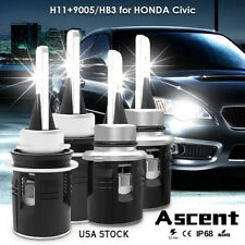 Combo H11 9005 LED Headlight Kits Bulbs Hi/Low Beam For Honda Civic 2017-2016