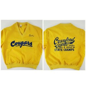 VTG Wrestling State Champs Pullover Jacket Spell Out Cranford New Jersey 70s L/M