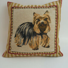 European Tapestry Throw Pillow Metrax Made in Belgium Yorkshire Terrier Design