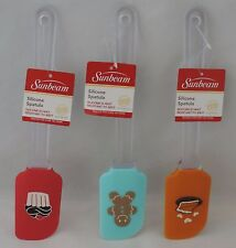 """Set of 3 Sunbeam 10"""" Silicone Icing Frosting Cake Spatula Kitchen with designs"""