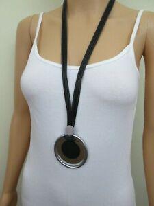 Halskette mit Anhänger, Farbe silber-, messingfarbig, Halsschmuck, Modeschmuck