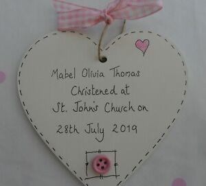 Christening Gift New Baby Personalised heart plaque keepsake