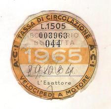 ANNO 1965 VECCHIO BOLLO ACI AUTO TASSA DI CIRCOLAZIONE MOTO MOTOCICLI VESPA 02