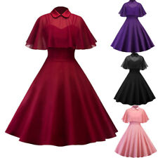 Women 50s Swing Party Rockabilly Dress Housewife Prom Dress With Sheer Mesh Cape