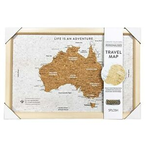 SPLOSH TRAVEL MAP - CORK FRAMED BOARD w/ PINS - AUSTRALIA - 53.5cm x 36.5cm *NEW