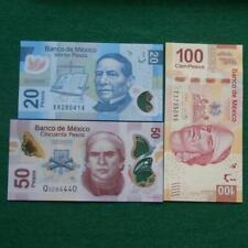 Lot of 3 Mexican 20,50,100 UNC Pesos Bills Currency Current