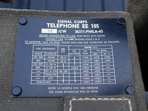 RARE? US Army Signal Corps Field Telephone EE-105 W/ Canvas Case WWII ?