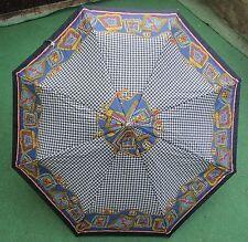 Schirm Regenschirm Knirps - 70s - Vintage - Space Age - schwarz weiß bunt