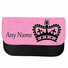 PERSONALISED PRINCESS CROWN SCHOOL GIRLS PENCIL CASE / MAKE UP BAG BIRTHDAY XMAS
