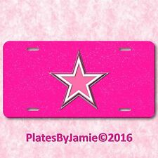Pink White Silver Texas Star Glitter Background TX  Aluminum License Plate Tag