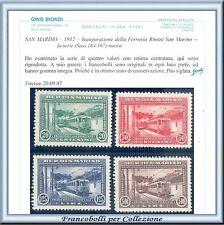 1932 San Marino Ferrovie Serie completa n. 164/167 Certificato Nuovi Integri **