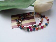 "18""Semi-Precious Multi Colour Agate Magnetic Clasp Necklace.46cm long.New"
