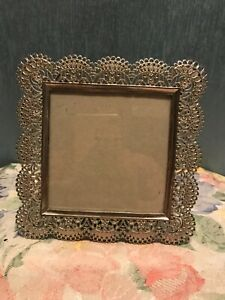 """Nicole Miller lacy filagree Photo Frame Pewter Silvertone 4x4"""""""