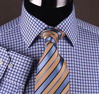 Egyptian Cotton Blue Twill Checkered Formal Business Dress Shirt Luxury B2B Boss