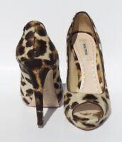 MIU MIU Beige Tan Brown Leopard Pony Hair Calf Peep Toe Platform Pumps Heels 37