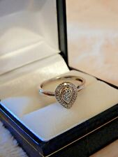 Ernest Jones Pear Shaped Natural Diamond 375 9ct White Solid Gold Ring Size M