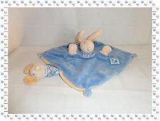 S - Doudou Semi Plat Marionnette Lapin Souris Bleu Lise et Lulu Moulin Roty