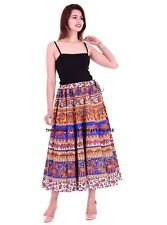 Elephant Mandala Print Long Skirt Indian Vintage Hippie Retro Women Skater Gypsy