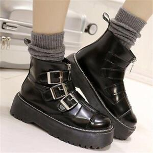 Womens Gothic Punk Round Toe Platform Zip Buckle Ankle Boots Casual Shoes Chic #