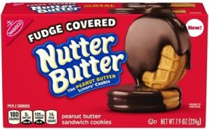 NEW Nabisco Fudge Covered Nutter Butter Peanut Butter Cookies FREE SHIPPING