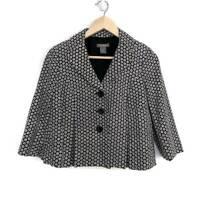 Ann Taylor Womens Blazer Jacket Black White Floral Cotton Silk Pleats Petites 4P