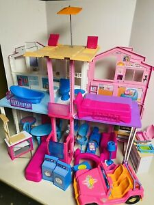 Barbie-3-Story House Pop-Up Umbrella Townhouse Furniture Jeep Kitchen Lot