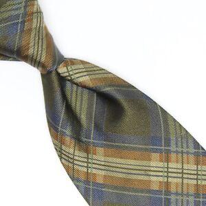 Hickey Freeman Mens Silk Necktie Green Tan Beige Brown Gray Plaid Woven Tie