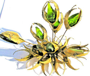 Bijan GREEN RESIN vintage 1960's metal flower TABLE sculpture jere era
