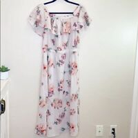 Lucky Brand Women's Off Shoulder Pink Floral Print Ruffle Midi Dress Size L