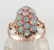 CLASS 9CT 9K ROSE GOLD  ALL OPAL LONG ART DECO INS RING FREE RESIZE