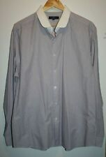 Tailor&Cutter Men's Long Sleeve Slim Fit White Purple Striped Shirt Size 17 1/2